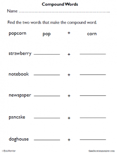 Compound Words Worksheets for Kids