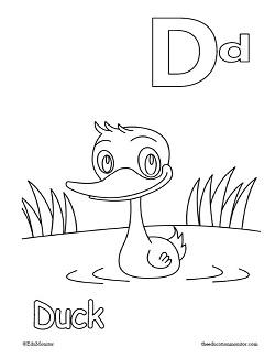Alphabet Letter Dd coloring pages