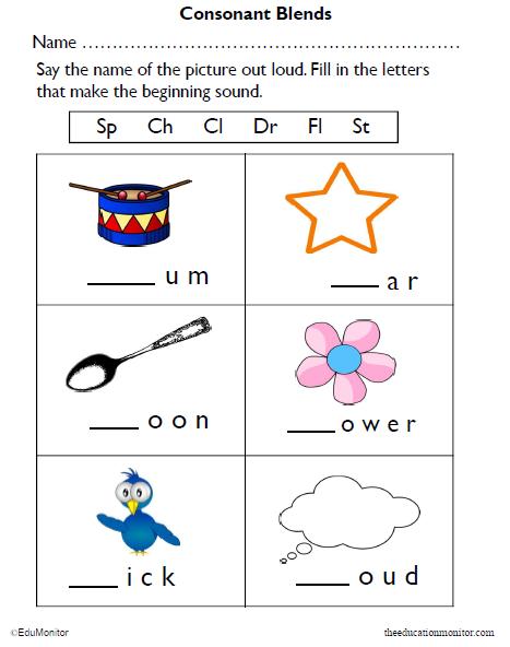 Consonant Blends Worksheets For Kindergarten Pdf