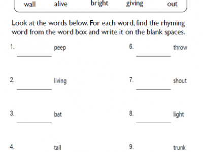 2nd Grade Rhyming Words Worksheets