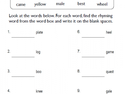 Second Grade Rhyming Worksheets