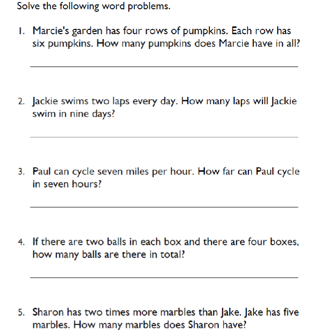 Free Word Problems Math Worksheets