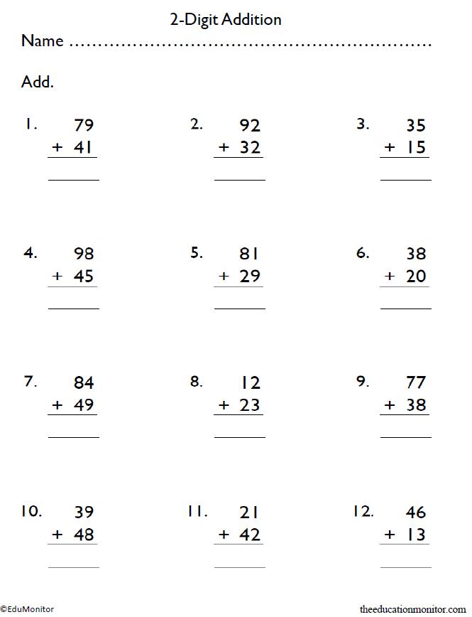 4th Grade 2-Digit Addition Worksheets