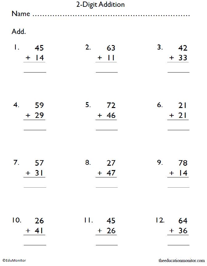 Fifth Grade 2-Digit Addition Worksheets