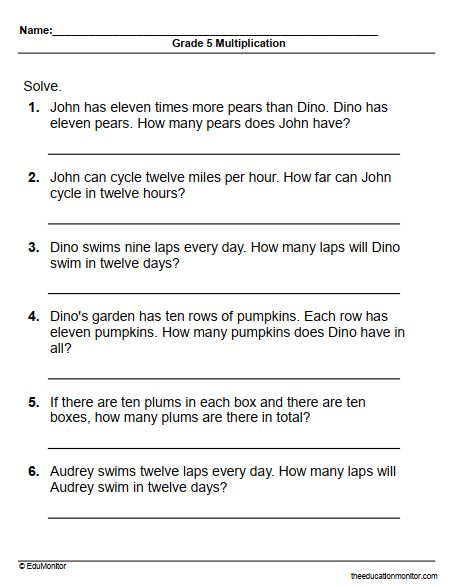 Grade 5 multiplication word problems printables