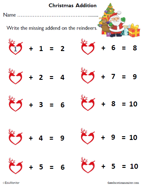 Merry Christmas! Free Kindergarten Addition Math Printable
