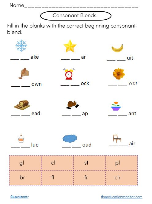 Consonant Blends Phonics Worksheets The Edumonitor