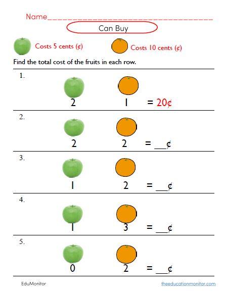 Money Grade 2 Worksheets