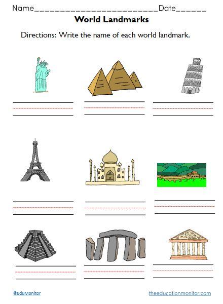 Free World Landmarks Worksheets  for Kids