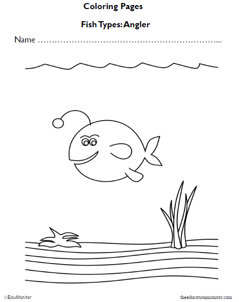 Angler Fish Coloring Pages Worksheet