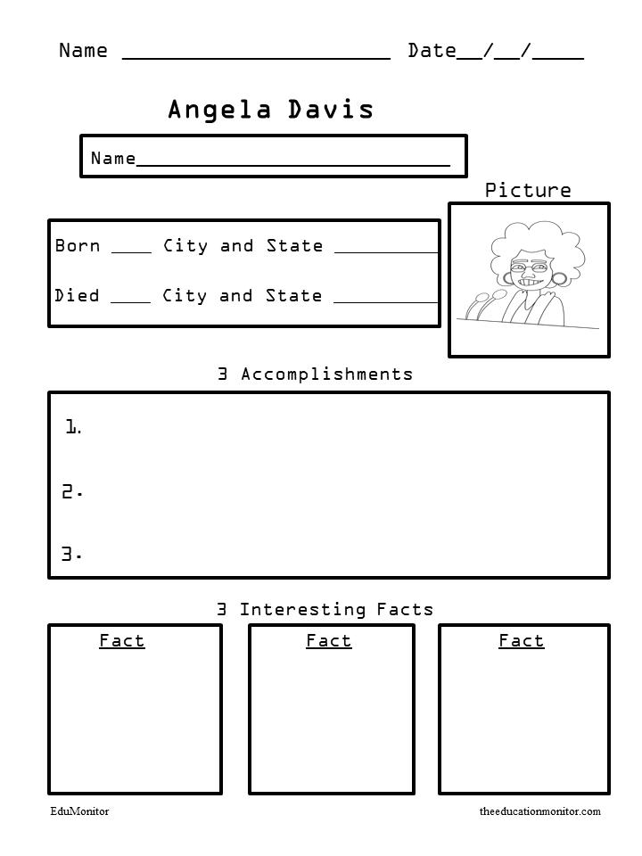 Angela Davis Free Biography Worksheets