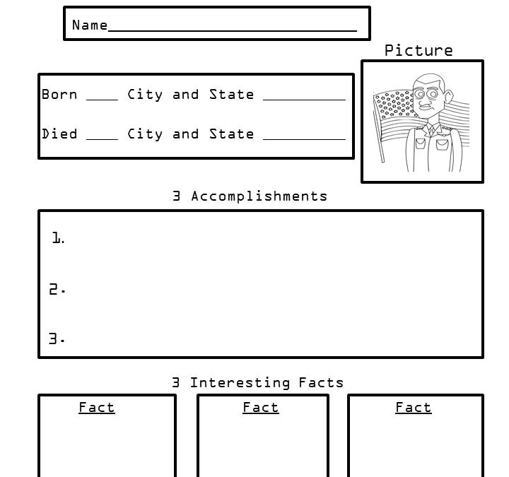 Free Biography Printable for 3rd Grade