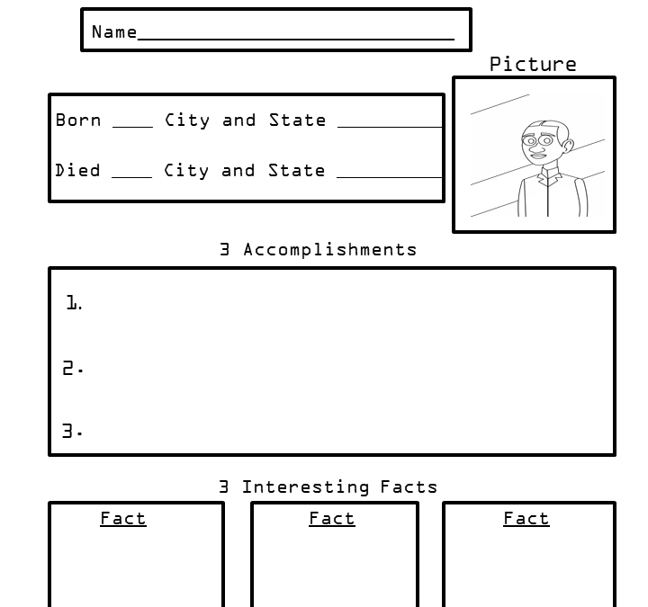 Free Biography Research Worksheets for Kids
