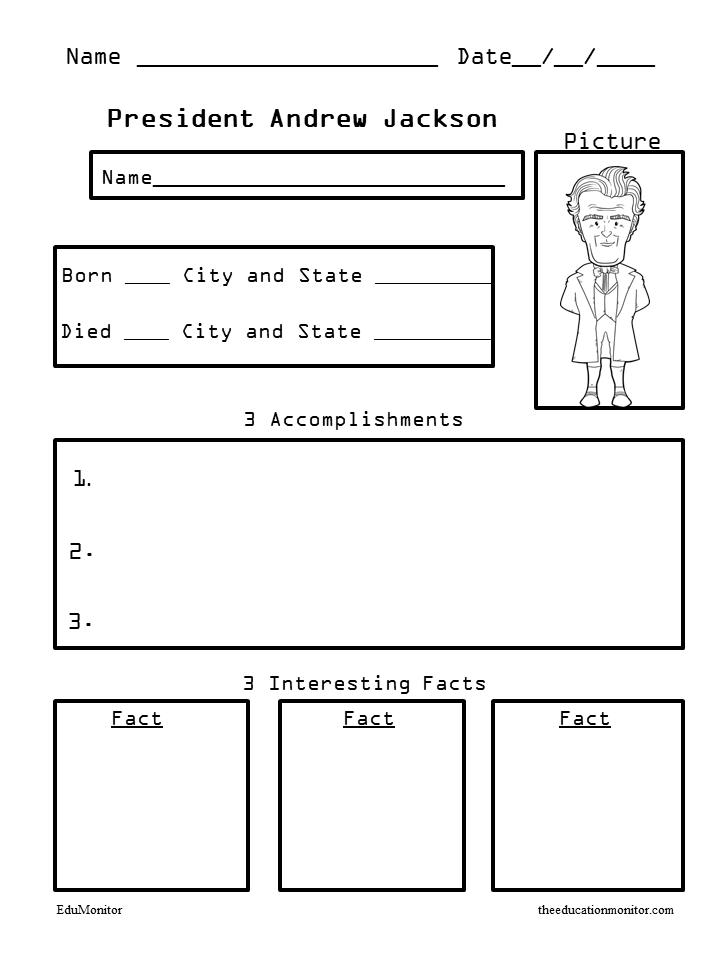 President Andrew Jackson biography worksheets