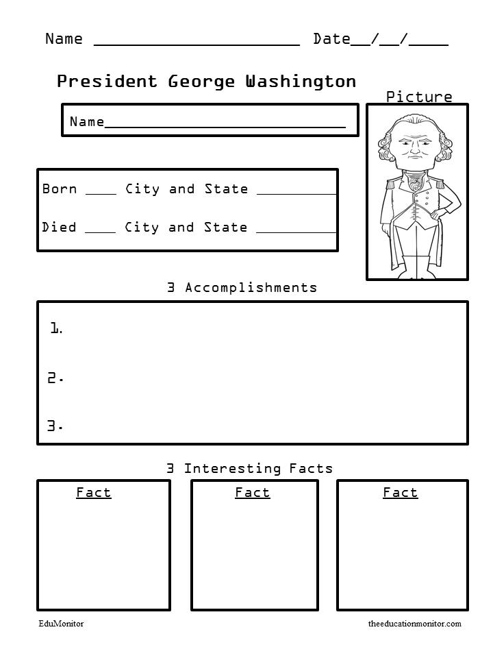 George Washington Presidents Biography Worksheets