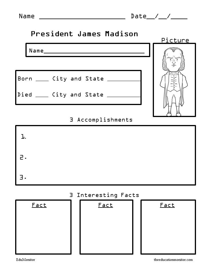 President James Madison Presidents Biography Organizers Worksheets