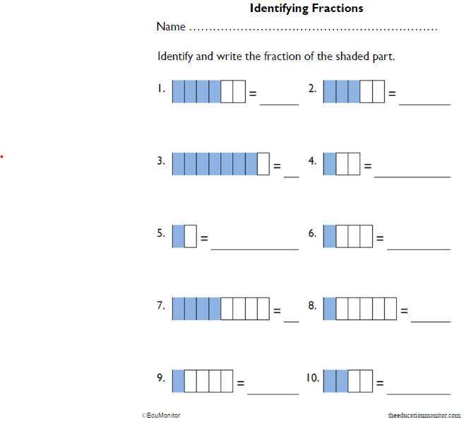 Fractions of Rectangles Math Worksheets
