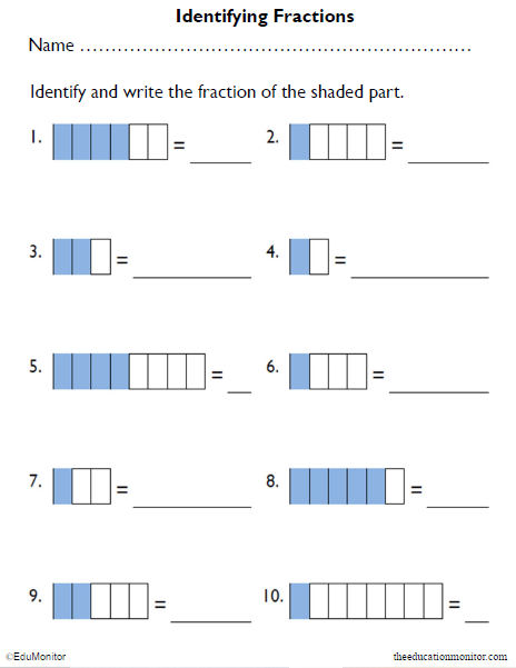 2nd Grade Shading Fractions of Rectangles Math Worksheets