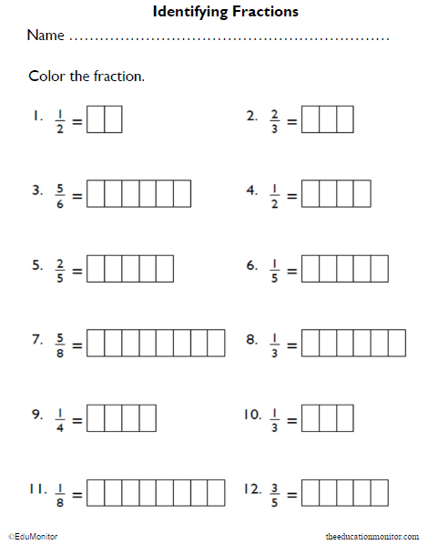 Identifying Fractions Math Worksheet