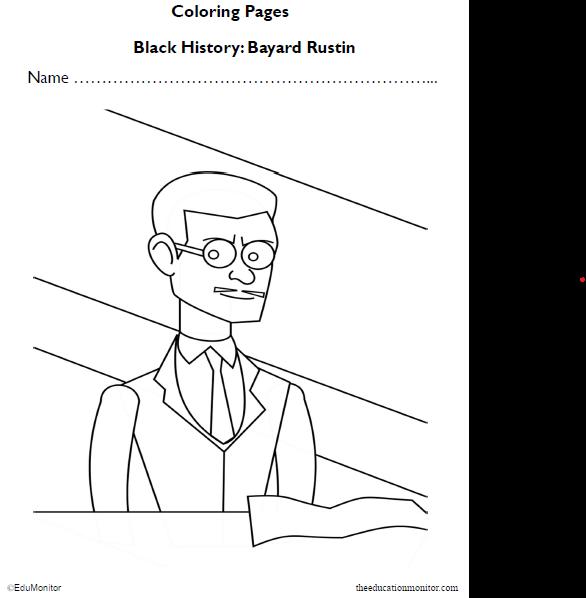 Bayard Rustin Black History Coloring Pages Worksheet
