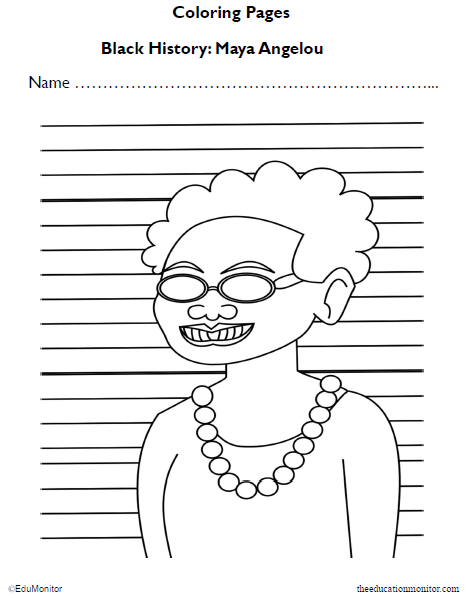 Maya Angelou Coloring Pages for Preschool