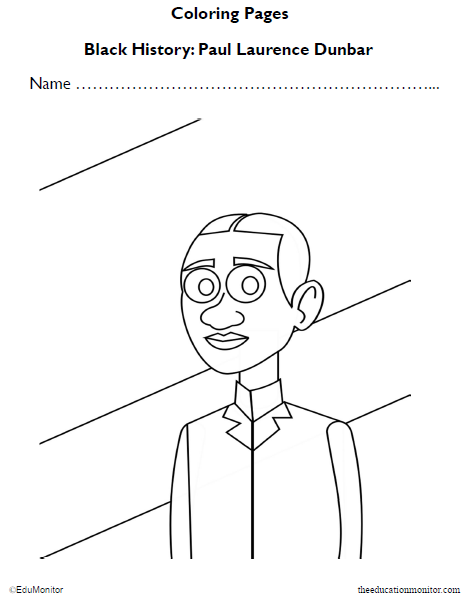 Paul Laurence Dunbar Black History Coloring Pages