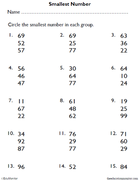 Circle the Smallest Number Math Worksheets