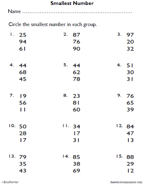 Identifying Numbers Math Worksheets