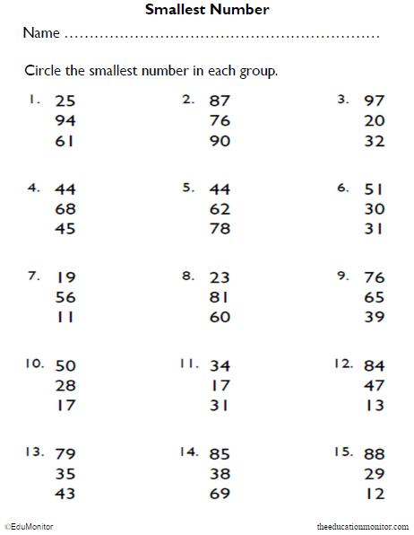 Identifying Numbers Math Worksheet