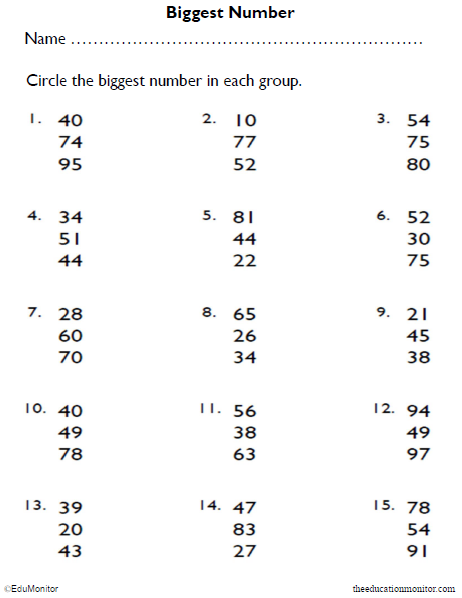 Number Recognition Math Worksheet