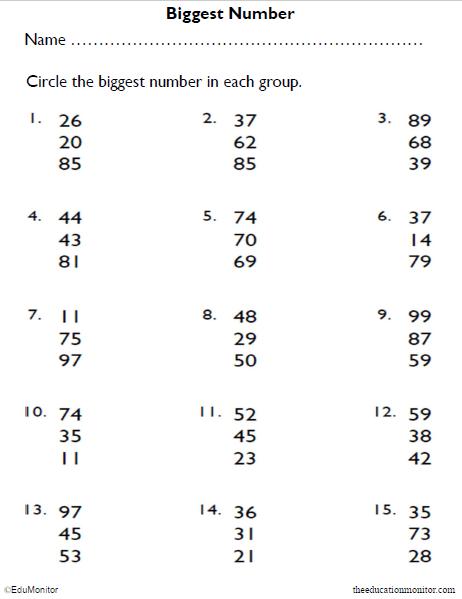 1st Grade Biggest Numbers Math Worksheet