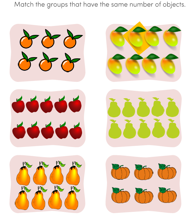 Preschool Matching Numbers Math Worksheets