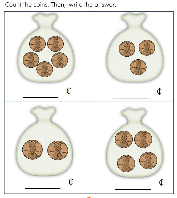 Preschool Money Math worksheets for kids