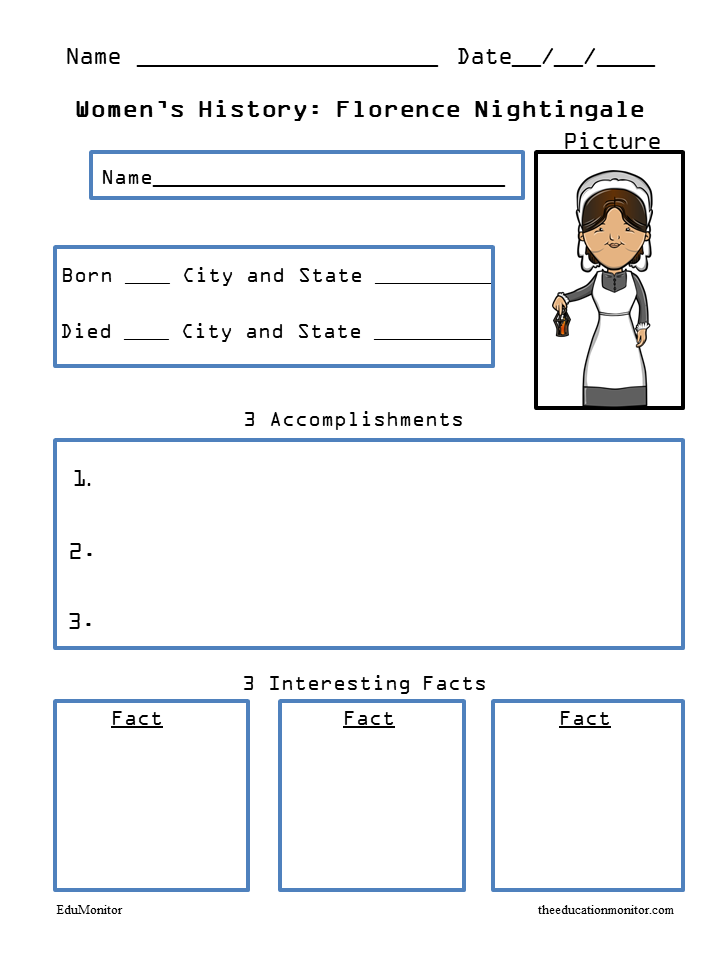 Biography Research Worksheets for Florence Nightingale