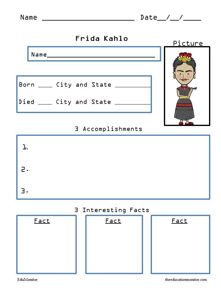 Frida Kahlo Social Studies Biography Worksheets