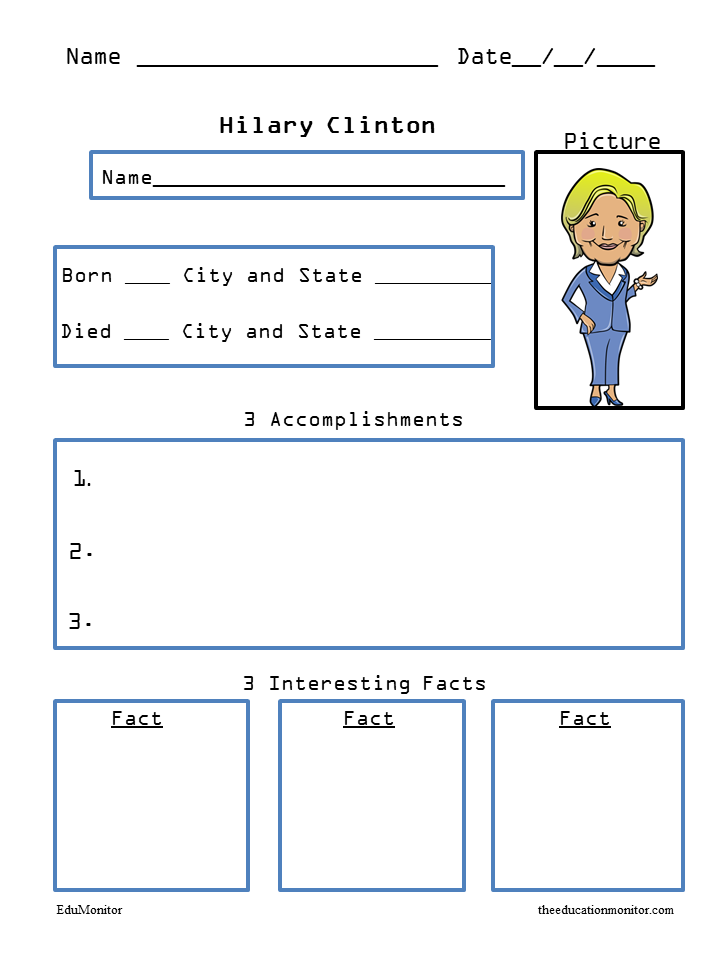 Hilary Clinton Biography Research Worksheets
