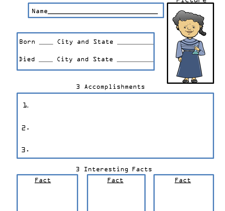 Free Printable Marie Curie Biography Research Worksheet