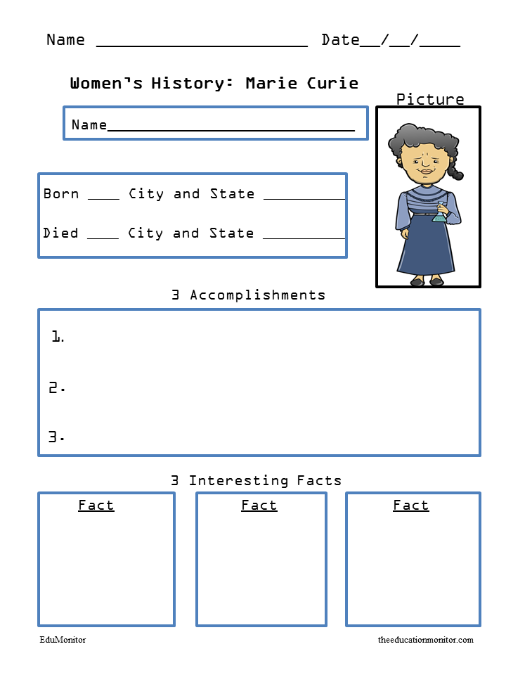 Marie Curie Biography Worksheets
