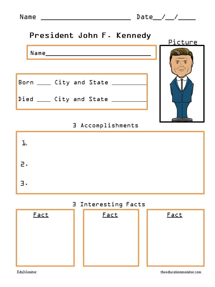John F. Kennedy Biography Worksheets