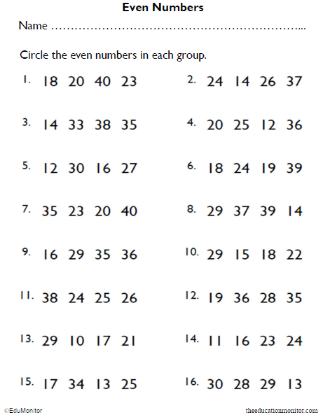 Identifying Even Numbers Math Worksheet