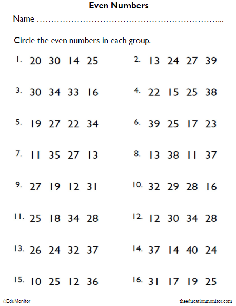 Circle the Even Numbers Math Worksheet