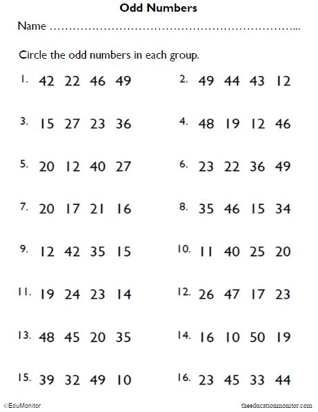 Circle the Odd Numbers Worksheet Free Printable