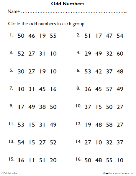 Math Worksheets| Circle the Odd Numbers