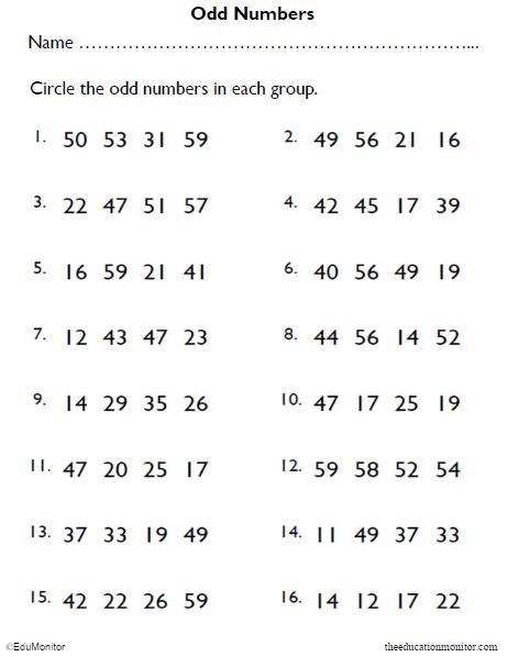 2nd Grade Odd Numbers Math Worksheet