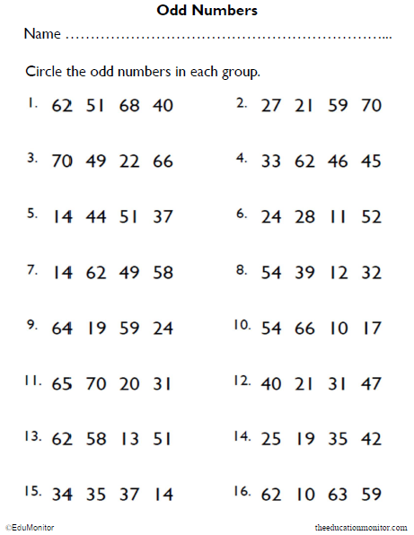 Odd Numbers Math Worksheet for 2nd Grade