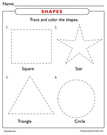 Free Trace and Color Shapes pdf for kids