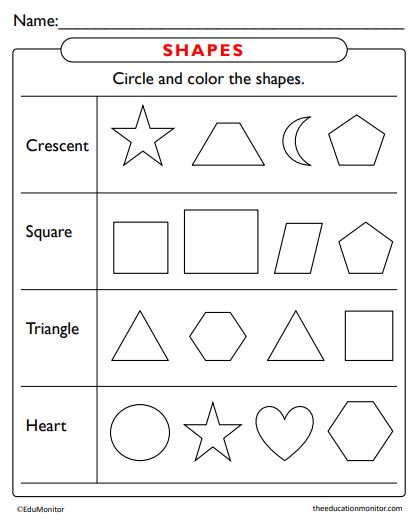 Identify the Shapes Worksheets