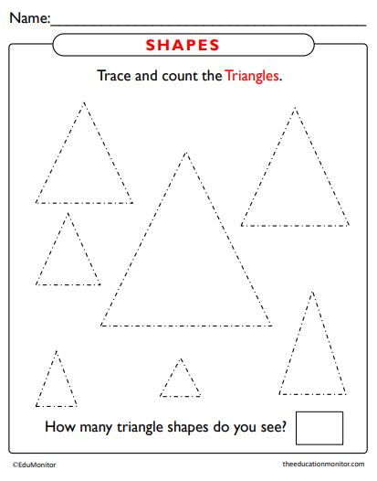 Triangle Shapes Tracing Worksheets