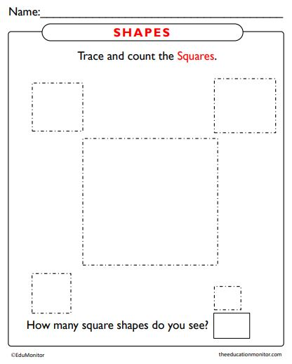 Trace and Count Shapes Worksheet pdf