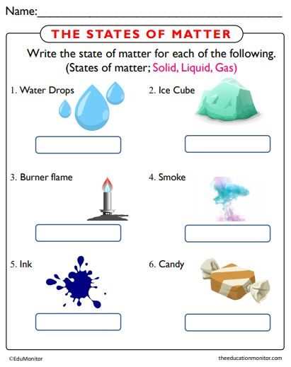 States of Matter Science Worksheets